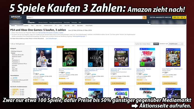 amazon zieht nach 5 xbox one oder ps4 spiele kaufen. Black Bedroom Furniture Sets. Home Design Ideas